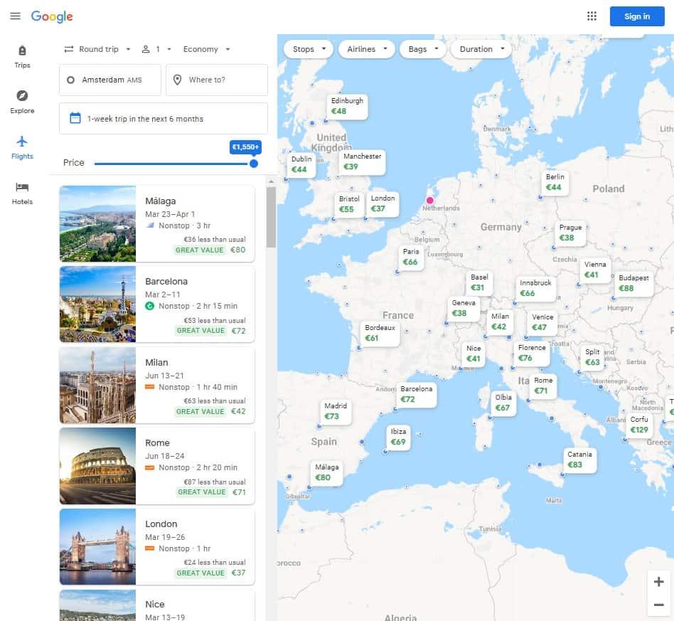 Google Flights beste reisapps